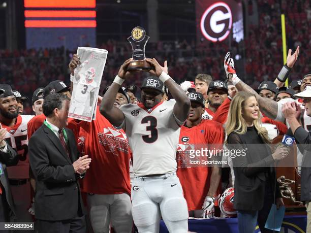 Georgia Bulldogs linebacker Roquan Smith celebrating winning Player of the Game after the SEC Championship game between the Georgia Bulldogs and the...