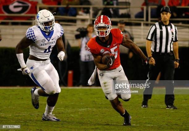 Georgia Bulldogs running back Brian Herrien heads up field during the college football game between the University of Georgia Bulldogs and the...