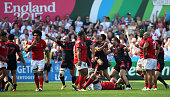 Georgia celebrate their victory in the 2015 Rugby World Cup Pool C match between Tonga and Georgia at Kingsholm Stadium on September 19 2015 in...