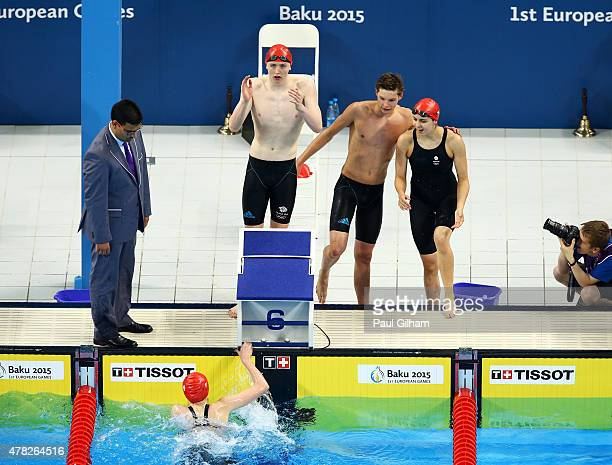 Georgia Coates Darcy Deakin Martyn Walton and Duncan Scott of Great Britain celebrate winning silver in the Mixed 4x100m Freestyle Relay final during...