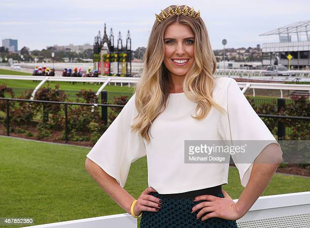 Georgia Connolly poses at The Yellowglen Terrace during Melbourne Racing at Flemington Racecourse on September 12 2015 in Melbourne Australia