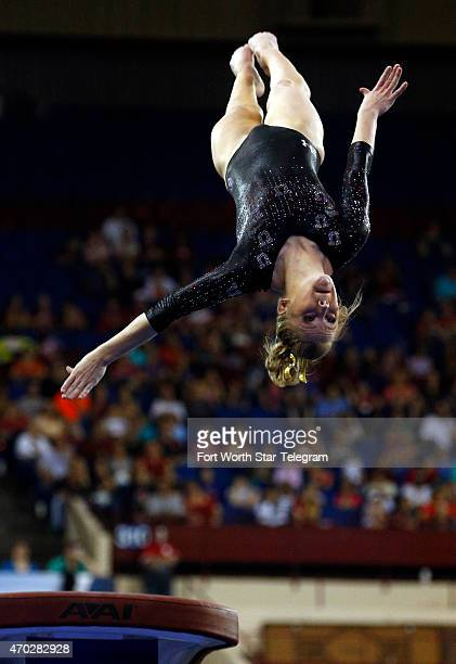 Georgia Dabritz of Utah competes in the vault at the 2015 NCAA Gymnastics Championships on Saturday April 18 in Fort Worth Texas