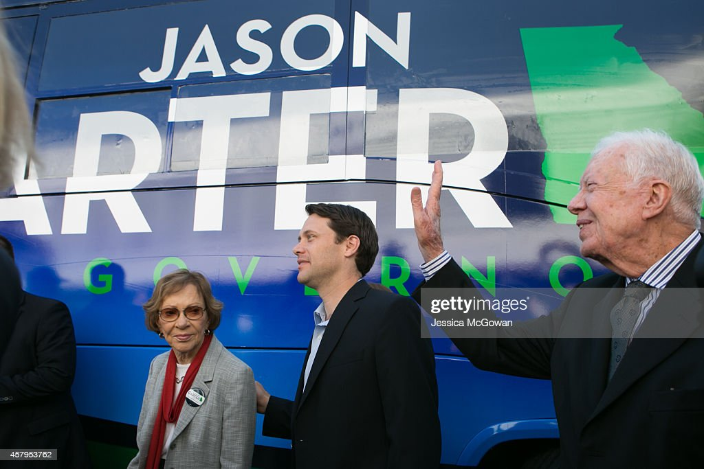Georgia Democratic gubernatorial candidate and State Sen Jason Carter arrives at a campaign event with his grandparents former US President Jimmy...
