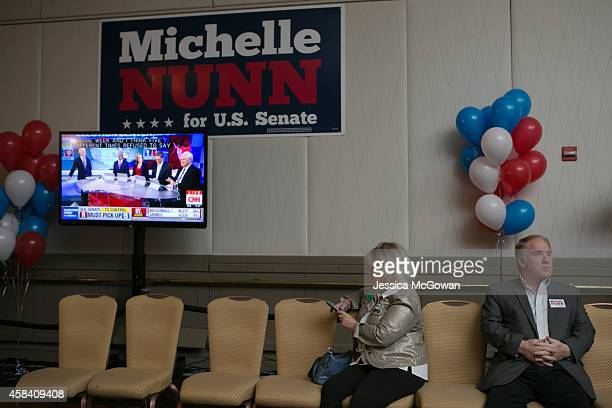 Georgia Democratic US Senate candidate Michelle Nunn supporters await results at the election party at the Hyatt Regency in downtown Atlanta on...