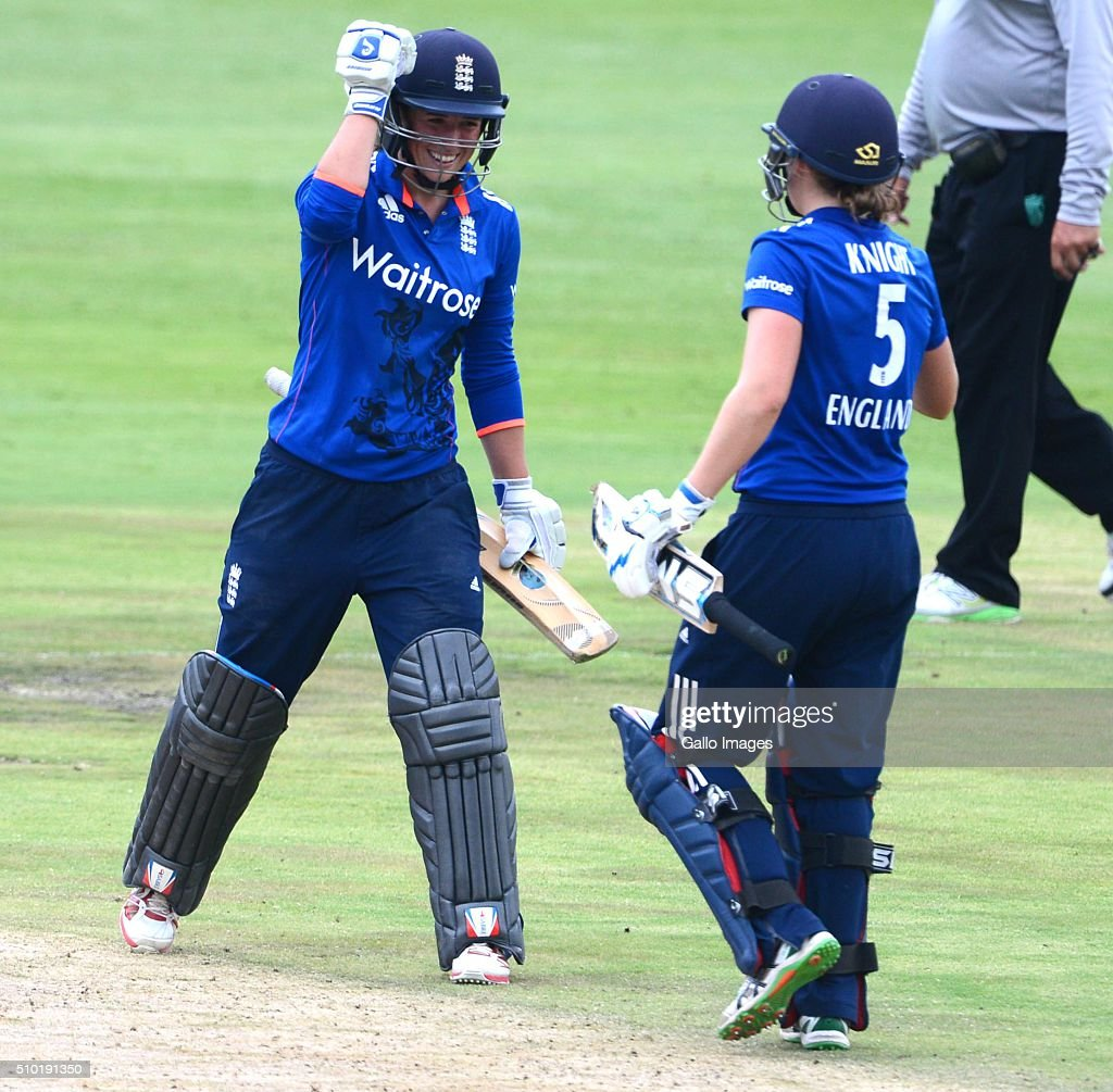 Georgia Elwiss of England celebrates her 50 runs with Heather Knight of England during the 3rd One Day International match between South African Women and England Women at Bidvest Wanderers Stadium on February 14, 2016 in Johannesburg, South Africa.
