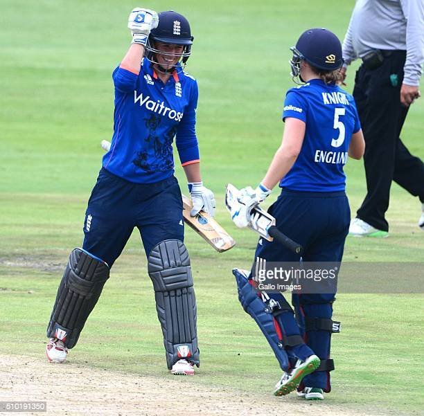 Georgia Elwiss of England celebrates her 50 runs with Heather Knight of England during the 3rd One Day International match between South African...