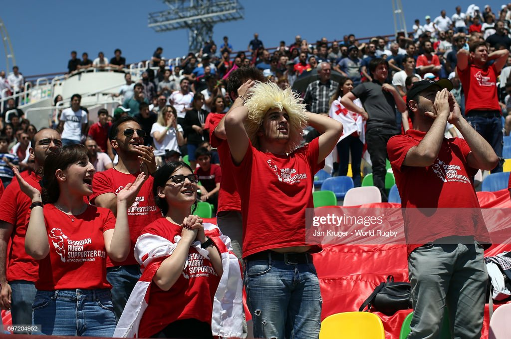 Georgia fans look on during the World Rugby U20 Championship 9th Place Playoff match between Ireland and Georgia at Mikheil Meskhi Stadium on June 18, 2017 in Tbilisi, Georgia.