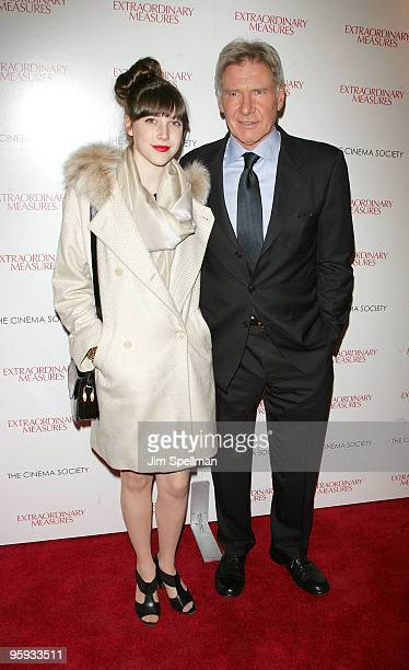 Georgia Ford and actor Harrison Ford attend the Cinema Society with John Aileen Crowley screening of 'Extraordinary Measures' at the School of Visual...
