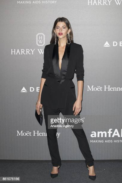 Georgia Fowler attends the red carpet of amfAR Gala Milan at La Permanente in Milano Italy on September 2017
