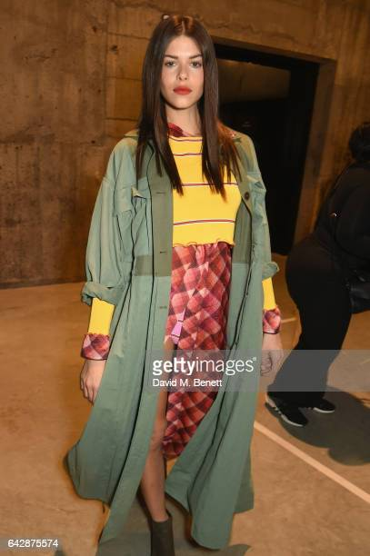 Georgia Fowler poses backstage at Topshop's London Fashion Week show at Tate Modern on February 19 2017 in London England