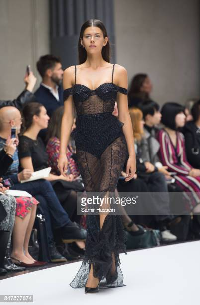 Georgia Fowler walks the runway at the Ralph Russo show during London Fashion Week September 2017 on September 15 2017 in London England