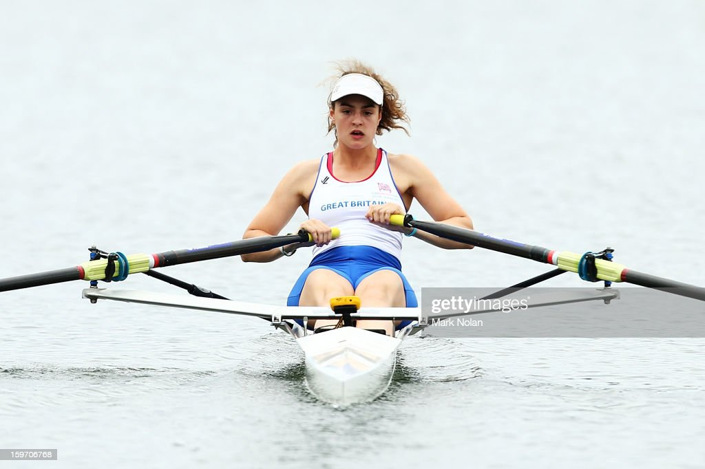 Georgia Francis of Great Britain competes in the Women's Singles Sculls at the rowing on day four of the Australian Youth Olympic Festival at Sydney International Regatta Centre on January 19, 2013 in Sydney, Australia.