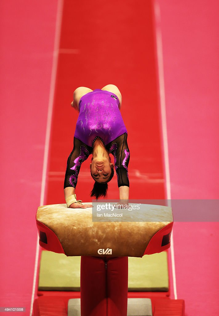 Georgia Godwinof Australia competes in the Vault during day Two of the 2015 World Artistic Gymnastics Championships at The SSE Hydro on October 24, 2015 in Glasgow, Scotland.