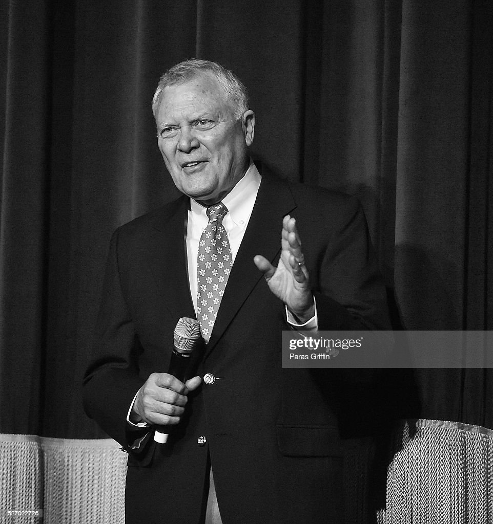Image has been converted to black and white) Georgia Governor <a gi-track='captionPersonalityLinkClicked' href=/galleries/search?phrase=Nathan+Deal&family=editorial&specificpeople=2365923 ng-click='$event.stopPropagation()'>Nathan Deal</a> onstage at 'Captain America: Civil War' Atlanta Cast & Filmmakers screening at The Fox Theatre on May 1, 2016 in Atlanta, Georgia.