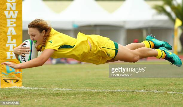 Georgia Hannaway of Australia scores a try during the Rugby Sevens Girls Gold Medal match between Australia and Canada on day 4 of the 2017 Youth...