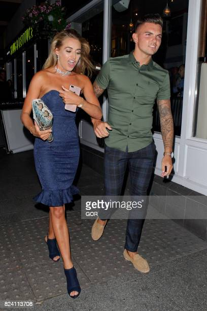 Georgia Harrison and Sam Gowland at Love Island party Sugar Hut club Brentwood Essex on July 28 2017 in London England