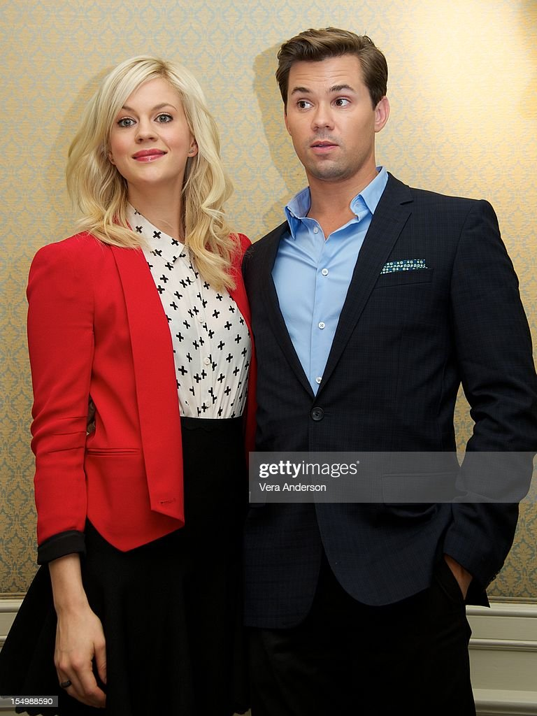 Georgia King and Andrew Rannells at 'The New Normal' Press Conference at the Four Seasons Hotel on October 26 2012 in Beverly Hills California