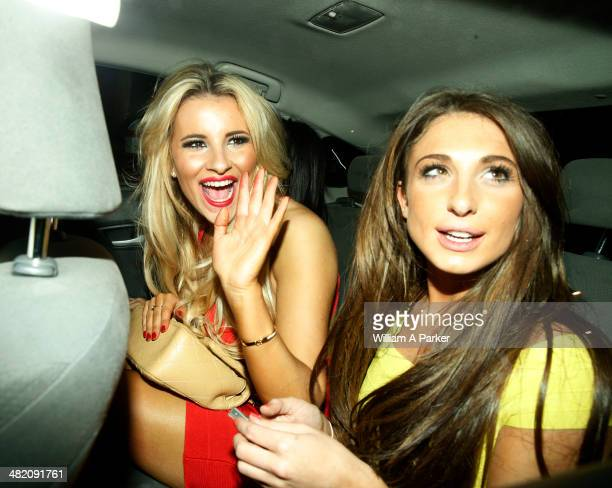 Georgia Kousoulou and Grace Andrews seen leaving The Only Way Is Essex wrap party held at Kanaloa on April 2 2014 in London England