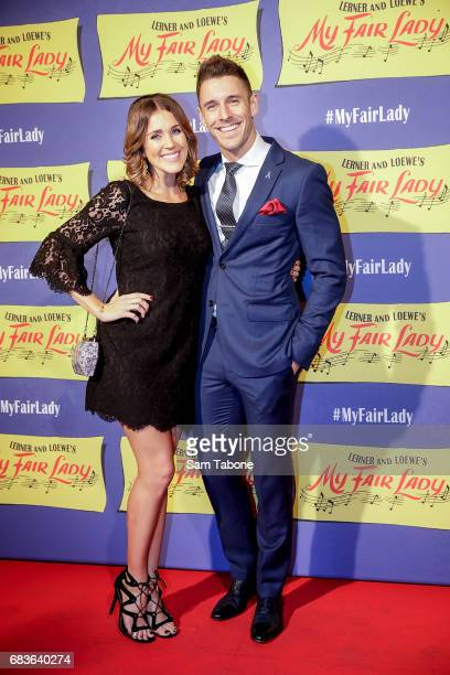 Georgia Love and Lee Elliot arrive ahead of opening night of My Fair Lady at Regent Theatre on May 16 2017 in Melbourne Australia