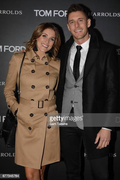 Georgia Love and Lee Elliot arrive for the Tom Ford StoreInStore Launch at Collins St Harrolds on May 3 2017 in Melbourne Australia