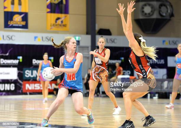 Georgia Marshall of the Waratahs looks to pass during the round seven Australian Netball League match between the Storm and the Waratahs at...