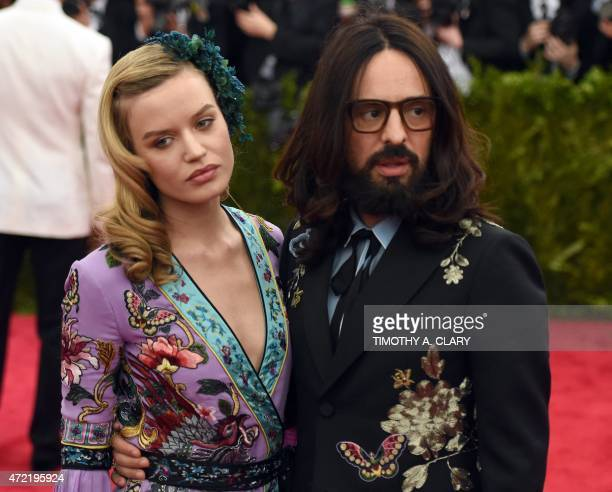 Georgia May Jagger and Alessandro Michele arrive at the 2015 Metropolitan Museum of Art's Costume Institute Gala benefit in honor of the museums...