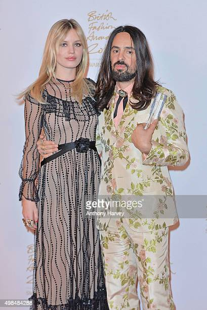 Georgia May Jagger and Alessandro Michele pose in the Winners Room at the British Fashion Awards 2015 at London Coliseum on November 23 2015 in...