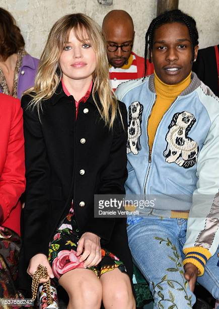 Georgia May Jagger and ASAP Rocky attend the Gucci Cruise 2017 fashion show at the Cloisters of Westminster Abbey on June 2 2016 in London England