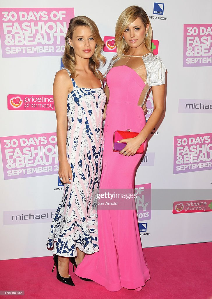 Georgia May Jagger and Jesinta Campbell arrive at the 30 Days of Fashion and Beauty launch party at Town Hall on August 28, 2013 in Sydney, Australia.