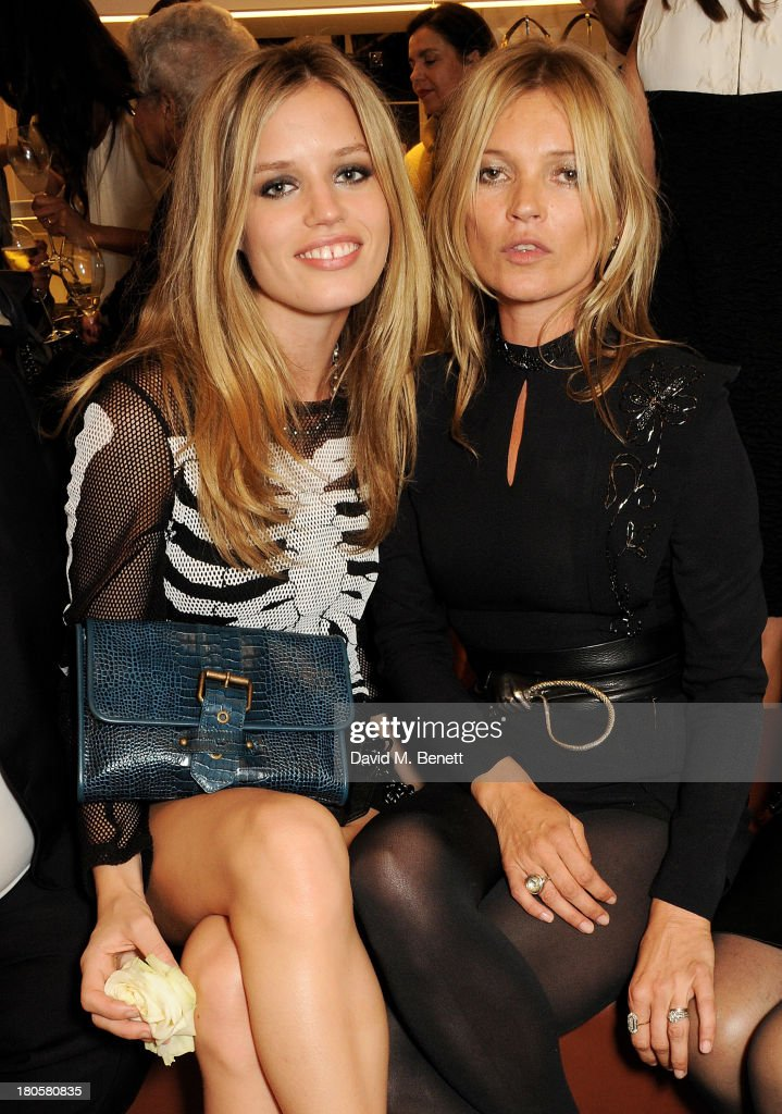 Georgia May Jagger (L) and <a gi-track='captionPersonalityLinkClicked' href=/galleries/search?phrase=Kate+Moss&family=editorial&specificpeople=201830 ng-click='$event.stopPropagation()'>Kate Moss</a> attend the launch of the Longchamp London flagship store on September 14, 2013 in London, England.
