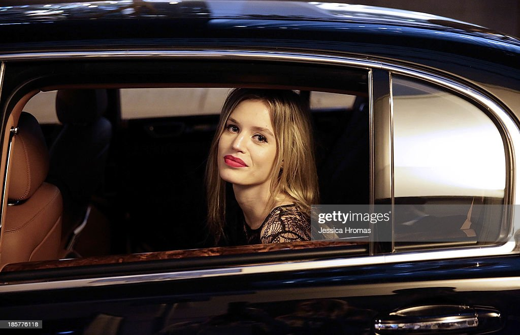 Georgia May Jagger arrives in a black Bentley for the British Airways A380 launch to Hong Kong on October 24, 2013.