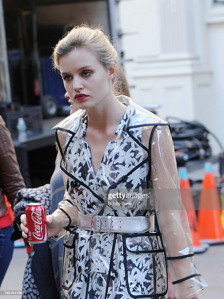 Georgia May Jagger, daughter of Rolling Stones singer Mick Jagger and model Jerry Hall, sighted on location filming a commercial on October 21, 2013 in New York City.