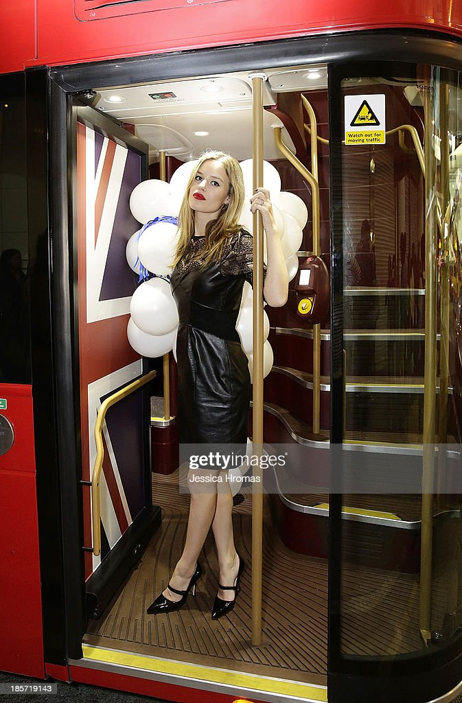Georgia May Jagger hops on board the 'Great Red Bus' to celebrate British Airways A380 launch to Hong Kong on October 24, 2013.