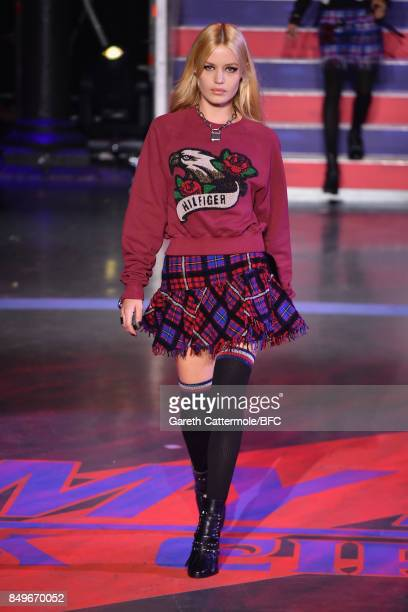 Georgia May Jagger walks the runway at the Tommy Hilfiger show during London Fashion Week September 2017 on September 19 2017 in London England