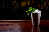 Georgia Mint Julep Cocktail served in metallic traditional cup.