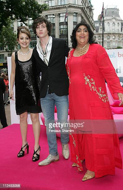 Georgia Nicolson Gurinder Chadha and Aaron Johnson attend the Angus Thongs and Perfect Snogging UK Film Premiere at The Empire Cinema on July 16 2008...