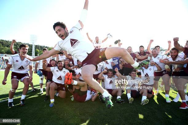Georgia players celebrate victory during the World Rugby U20 Championship match between Argentina and Georgia at Mikheil Meskhi Stadium on June 13...