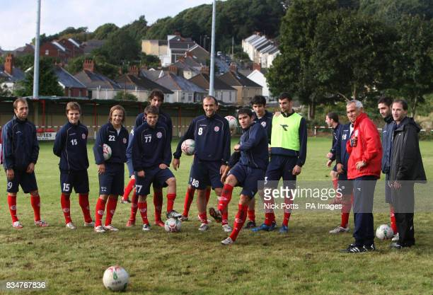 Georgia players practise penaltys with new head coach Hector Cuper during training at Briton Ferry AFC ground in Neath
