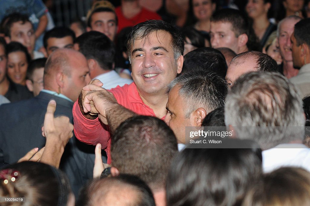 Georgia President Mikheil Saakashvili greets the crowd as he attends MTV Live Georgia at Europe Square on August 2, 2011 in Batumi, Georgia.