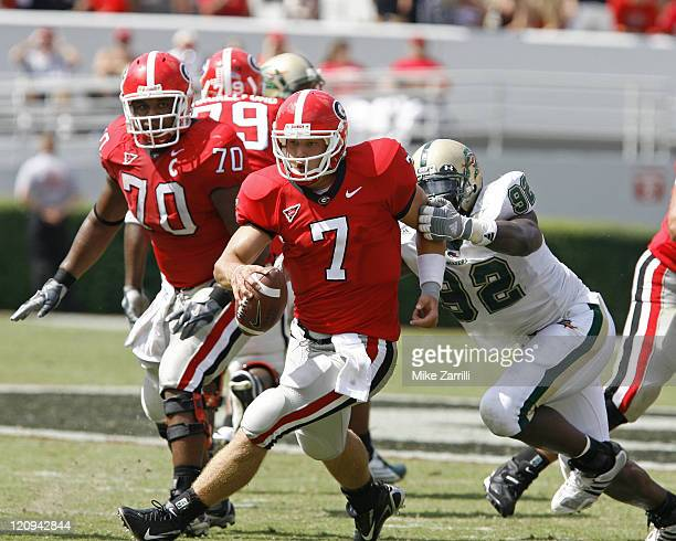 Georgia QB Matthew Stafford ran for 18 yards and a TD during the game between the University of Georgia Bulldogs and University of AlabamaBirmingham...