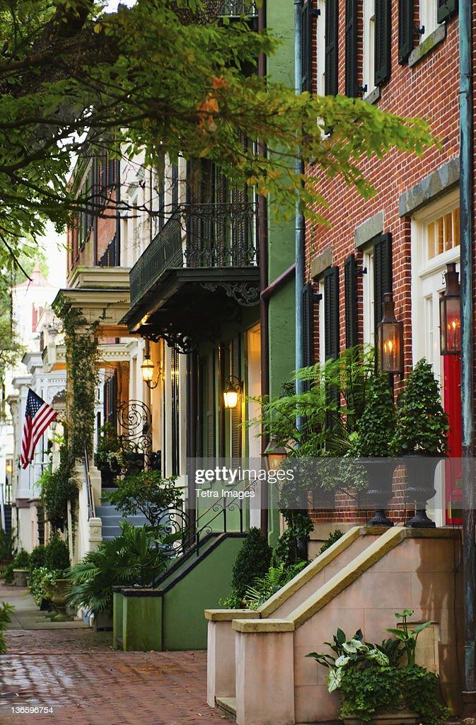 USA, Georgia, Savannah, Houses in residential district