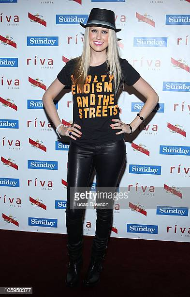 Georgia Sinclair arrives at the 'Snaparazzi Soiree' at Riva St Kilda on October 22 2010 in Melbourne Australia