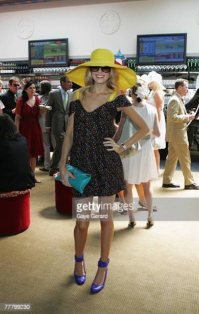Georgia Sinclair from Channel 9 attends Crown Oaks Day as part of the Melbourne Cup Carnival 2007 at Flemington Racecourse on November 8 2007 in...