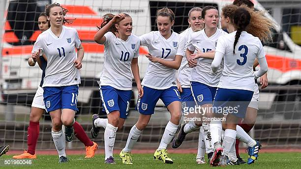 Georgia Stanway of England celebrates with team mates after scoring her team's third goal from a penaltyduring the U17 girl's international friendly...