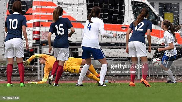 Georgia Stanway of England scores her team's third goal from a penalty during the U17 girl's international friendly match between France and England...