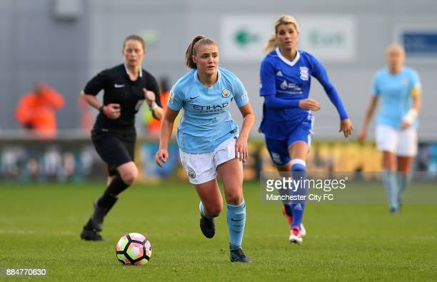 Georgia Stanway of Manchester City Women controls the ball during the FA WSL Continental Tyres Cup between Manchester City Women and Birmingham City...