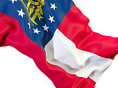 georgia state flag close up. United states local flags. 3D illustration