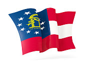 georgia state flag waving icon close up. United states local flags. 3D illustration