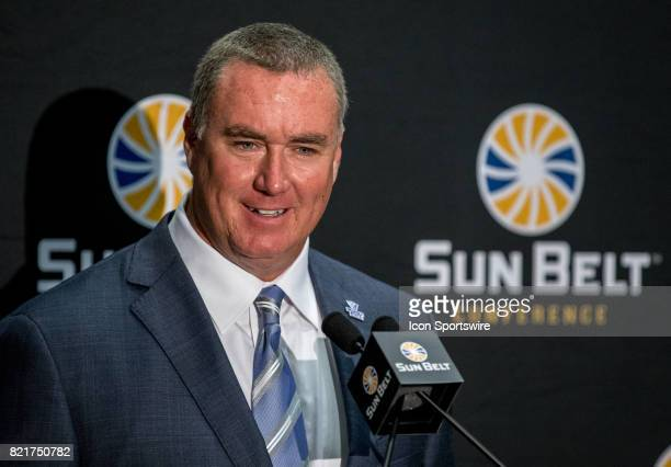 Georgia State head coach Shawn Elliott interacts with media during the Sun Belt Media Day on July 24 2017 at the MercedesBenz Superdome on