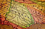 Georgia State, on an old 1880's map. Selective focus and Canon EOS 5D Mark II with MP-E 65mm macro lens.
